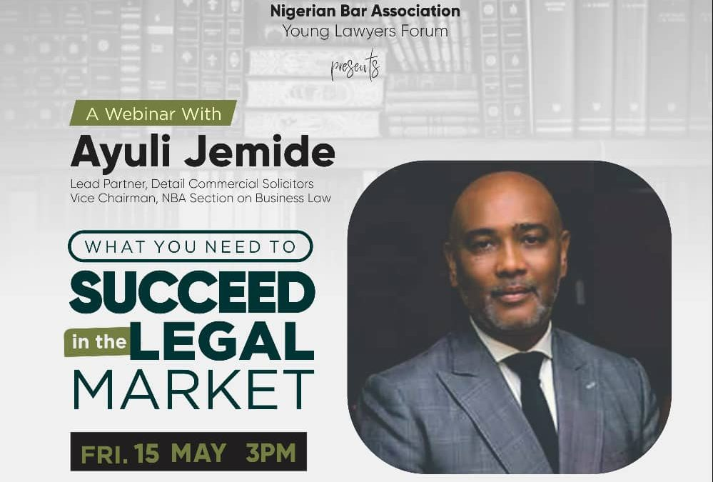 """Our Lead Partner, Mr Ayuli Jemide, speaks to the NBA-YLF on """"What you need to Succeed in the Legal Market""""."""