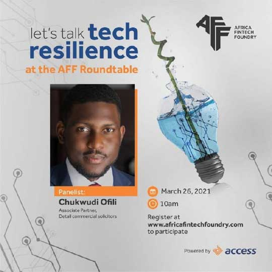 Our Associate Partner, Chukwudi Ofili, speaking at Africa Fintech Foundry Roundtable