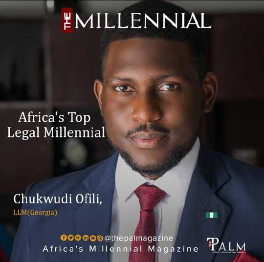 Our Associate Partner, Chukwudi Ofili, named Africa's Top Legal Millennial by The Palm Magazine